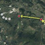 Le acque tracciate attraversano l'enorme canyon delle grotte di Škocjan (punto 1), per dirigersi verso la Kačna jama (2) o Grotta dei serpenti, dove la continuità delle acque è già stata dimostrata da tracciamenti precedenti. Dalla Kačna jama, recenti esperimenti hanno indicato sommariamente che l'acqua si dirige verso Kanjaduce (3), presso Sežana... (elaborazione mappe: Paolo Guglia)